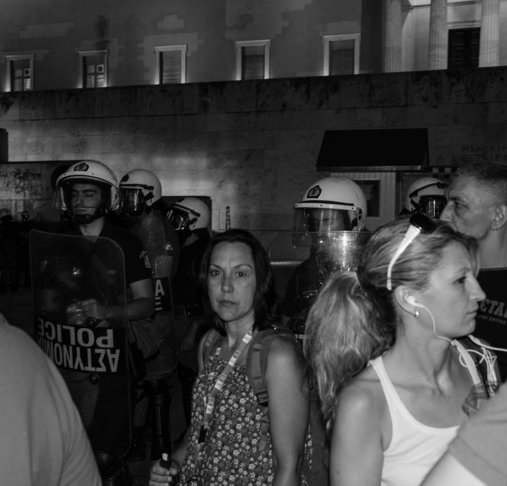 Photo in Street Photography #athens #house of  parliament #demonstration #b&w