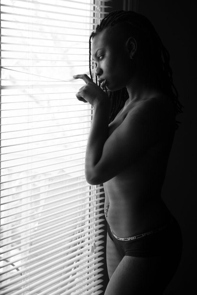 Photo in Portrait #b&w #ebony #nikon #topless #natural light #model