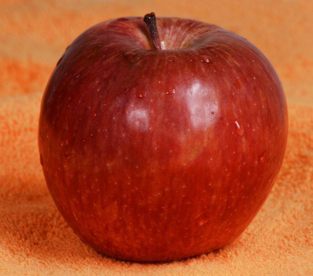 Photo in Food #apple #red apple #close up #details #food #water drops