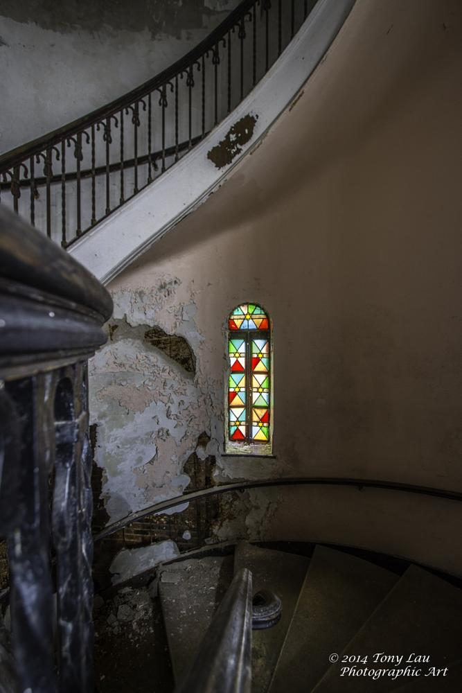 Photo in Architecture #stairs #staircase #tony lau #synagogue #chicago #illinois #religion #decay