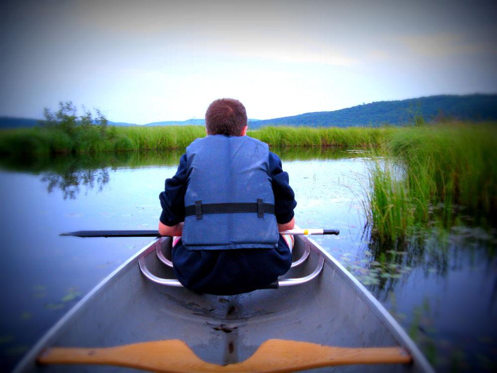 Photo in Random #canoe #family #lake #swamp #sky
