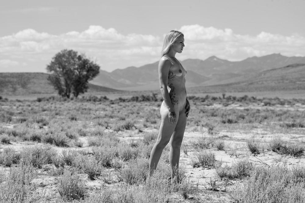 Photo in Landscape #jolene #jolene hexx #hexx #model #modeling #nude #nude model #legs #ass #butt #vag #vagina #smooth #shaved #bare #breast #small breast #blonde #tree #mountain #blackandwhite #bw #desert #scrub #brush