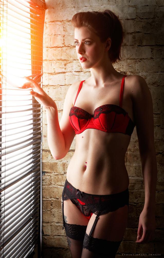 Photo in People #blinds #model #window #lingerie #wall