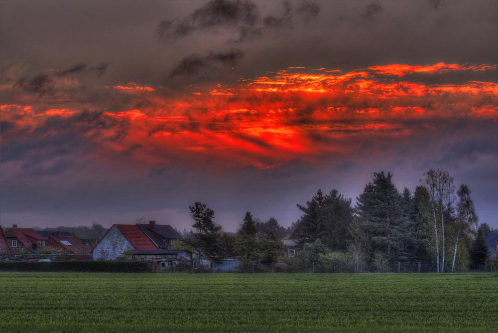 Photo in HDRI #hdr #sunrise #clouds #cloudy #cornfield #village #nebenstedt #germany #2014 #canon