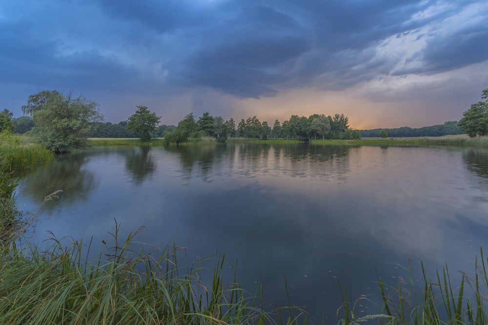 Photo in Nature #thunderstorm #pond #clouds #reflection #water #elbhöhen-wendland #germany #2015