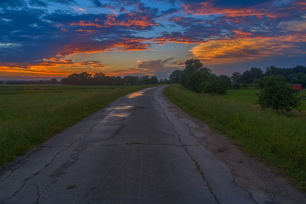 Photo in Rural #sunset #landscape #clouds #meadows #street #rural #predöhlsau #germany #2016
