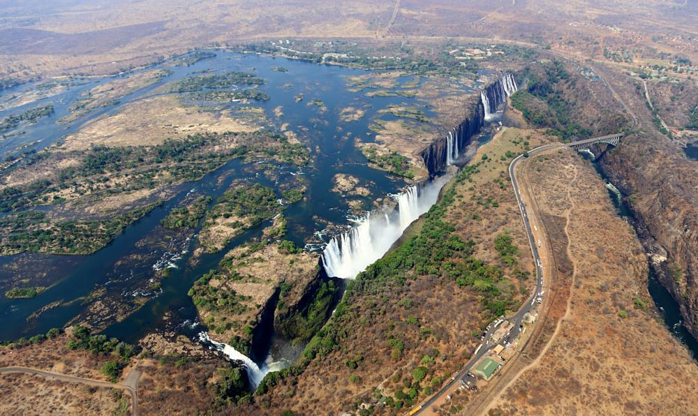 Photo in Landscape #victoria falls #victoria-fälle #mosi-oa-tunya #zambezi river #landscape #landschaft #aerial view #luftaufnahme #zimbabwe