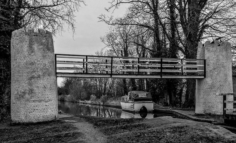 Photo in Black and White #folly #canal #footbridge #staffordshire #monochrome #inland waterways