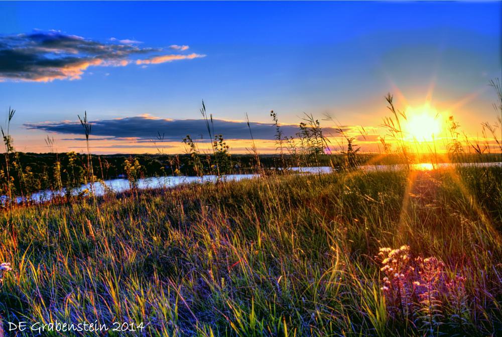 Photo in Landscape #lake #golden rod #prairie #grass #nebraska #sunset