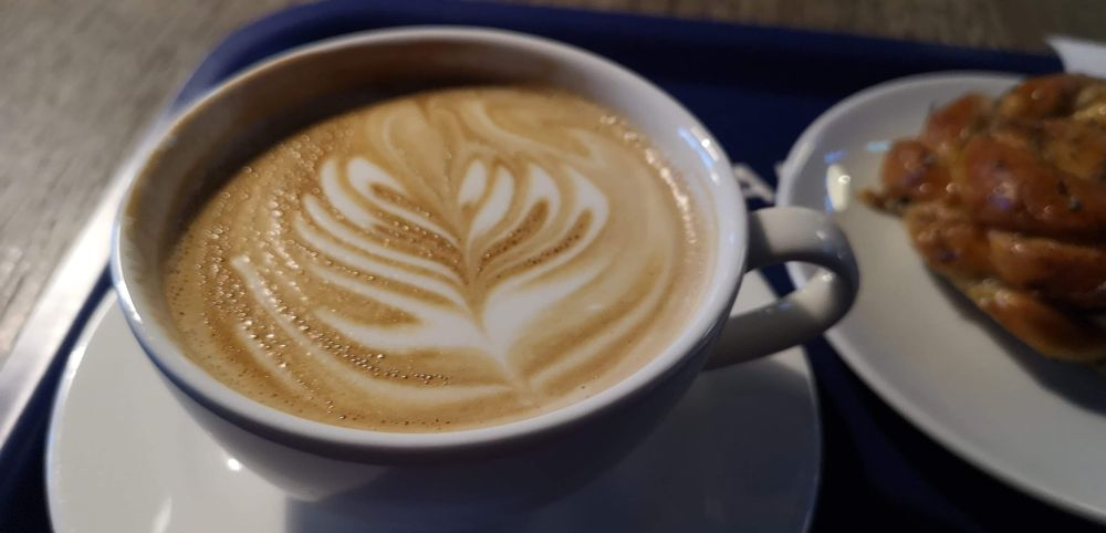 Photo in Food #cappuccino #bun #cup #plate