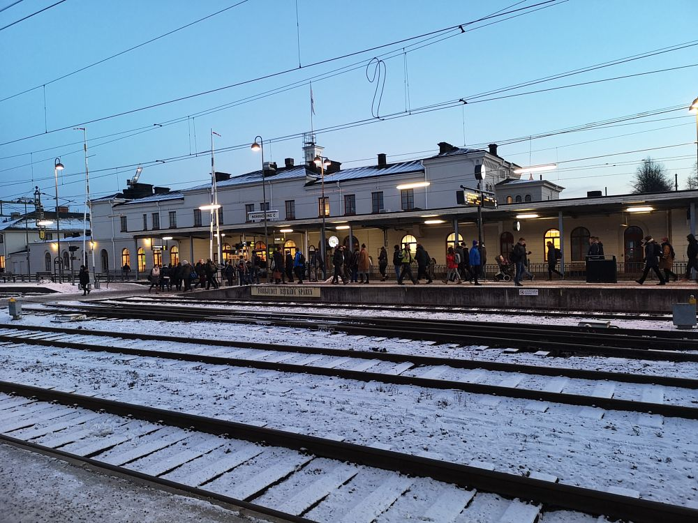 Photo in Travel #house #central station #norrköping #tracks #blue sky #snow #winter