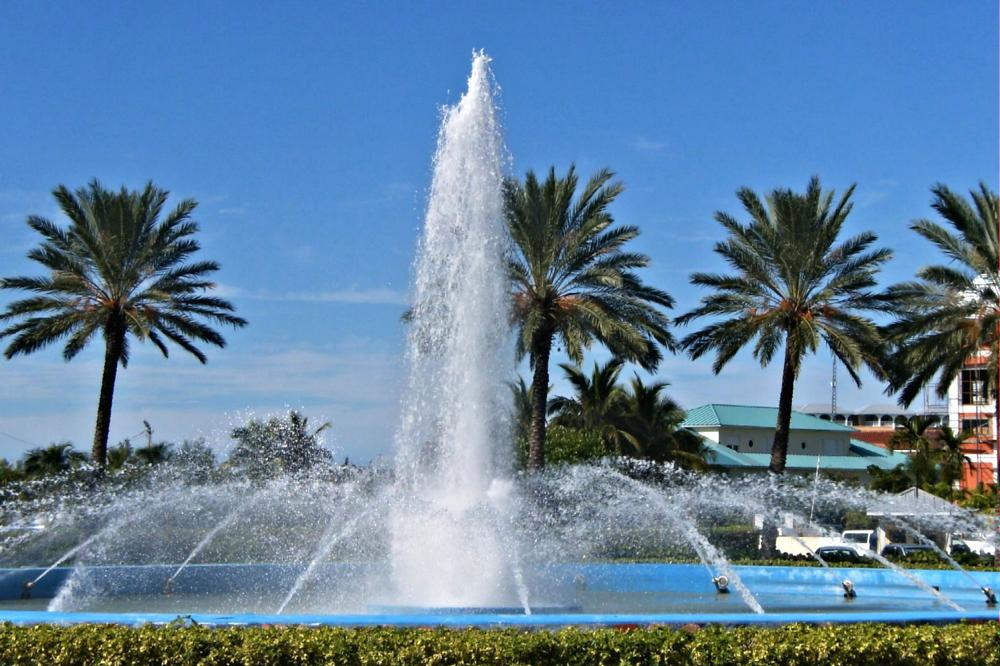Photo in Travel #fountains #water #palm trees #trees #architecture