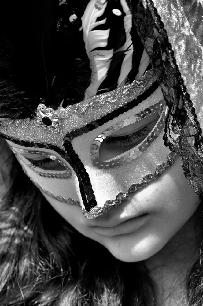 Photo in Black and White #black and white #mask #portrait