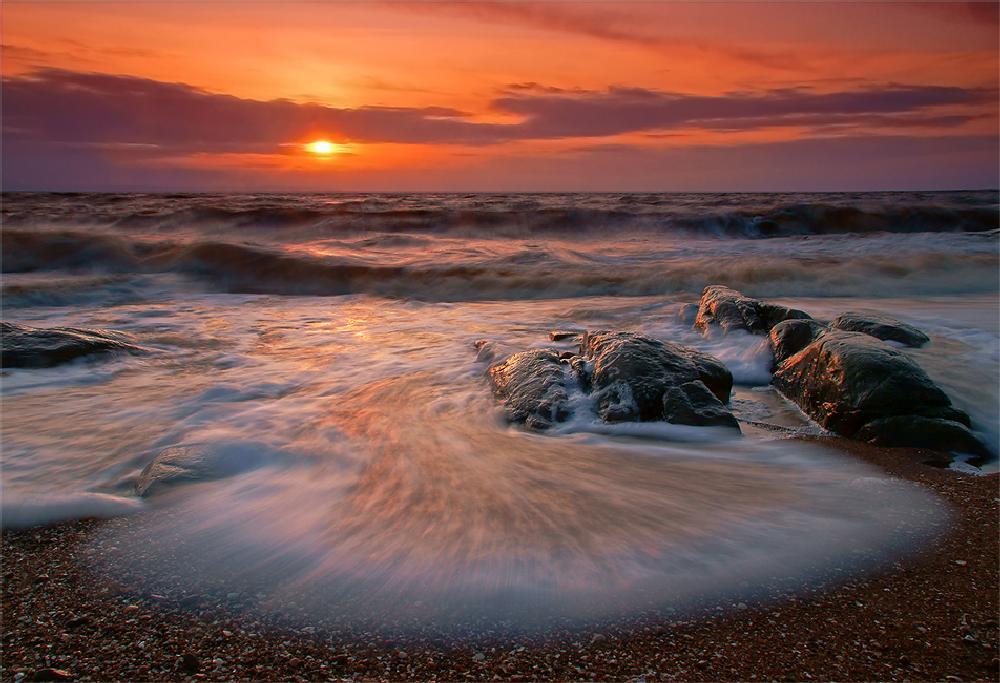 Photo in Nature #sweden #halland #nature #wave #sea #ocean #coast #rocks #stones #sunset