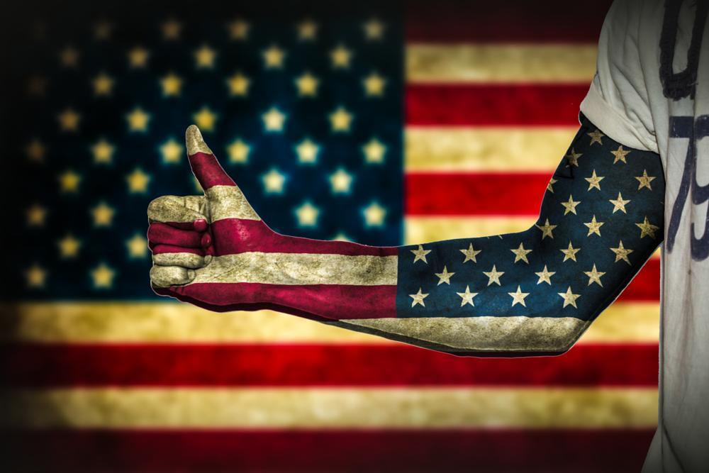 Photo in Abstract #america #american flag #stars and stripes #stars & stripes #flag #thumbs up #thumb #hand #arm #photoshop #nikon d800 #nikon