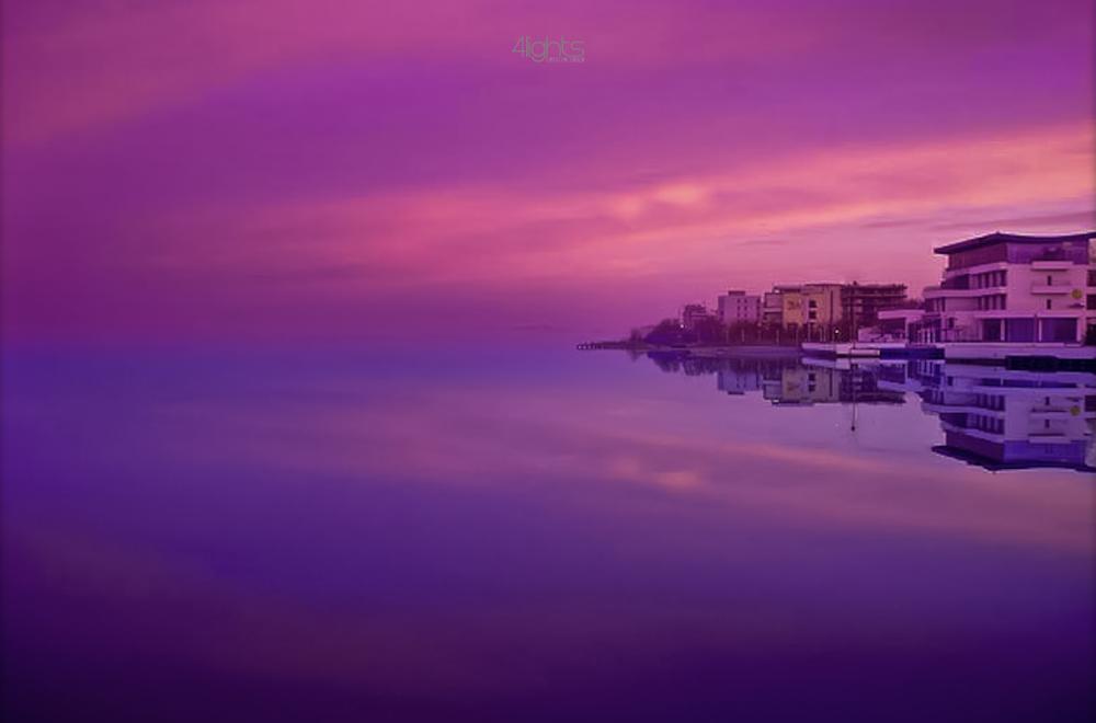Photo in Landscape #early moring #lake #mirrow #effect #purple #constanta #romania