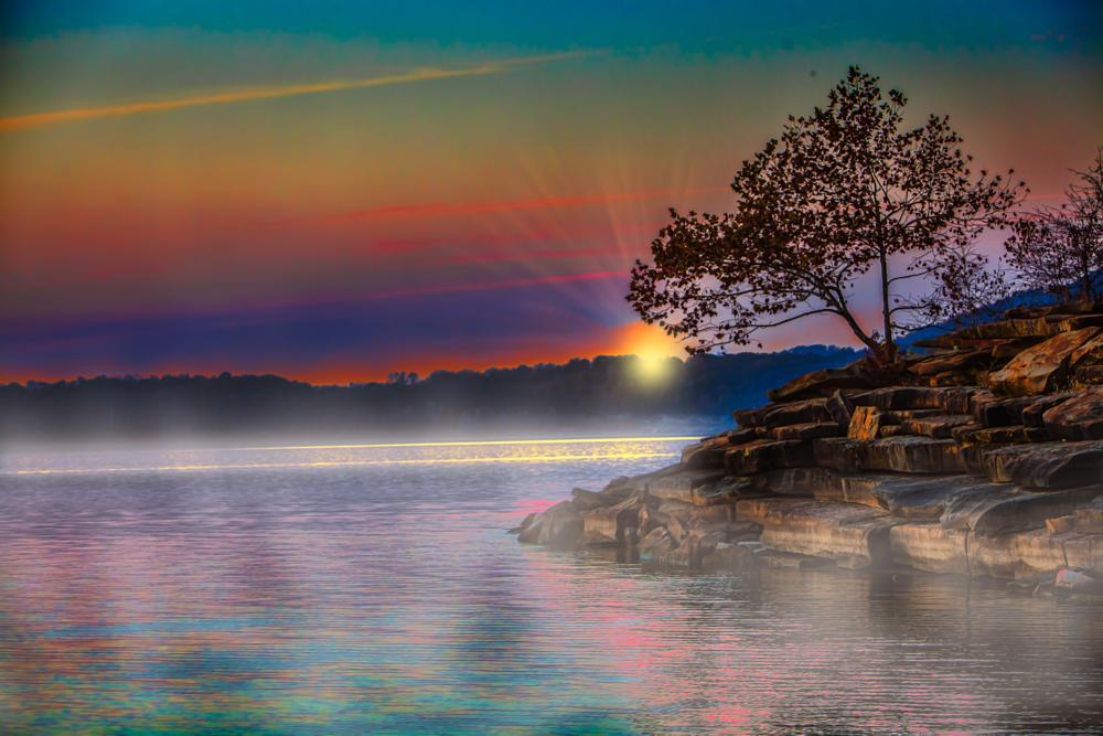 Photo in Landscape #lake #water #sunrise #treee #rocks #reflection