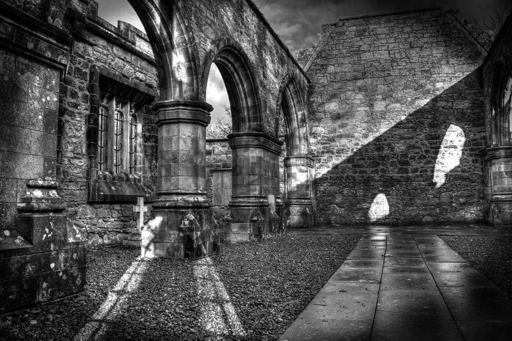 Photo in HDRI #landscape #hdr #black and white #graveyard