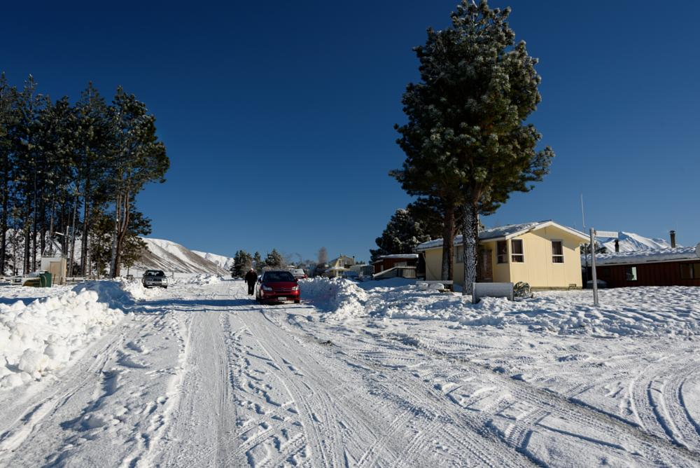 Photo in Landscape #snow #canterbury #new zealand #high country #baches #cars #scene