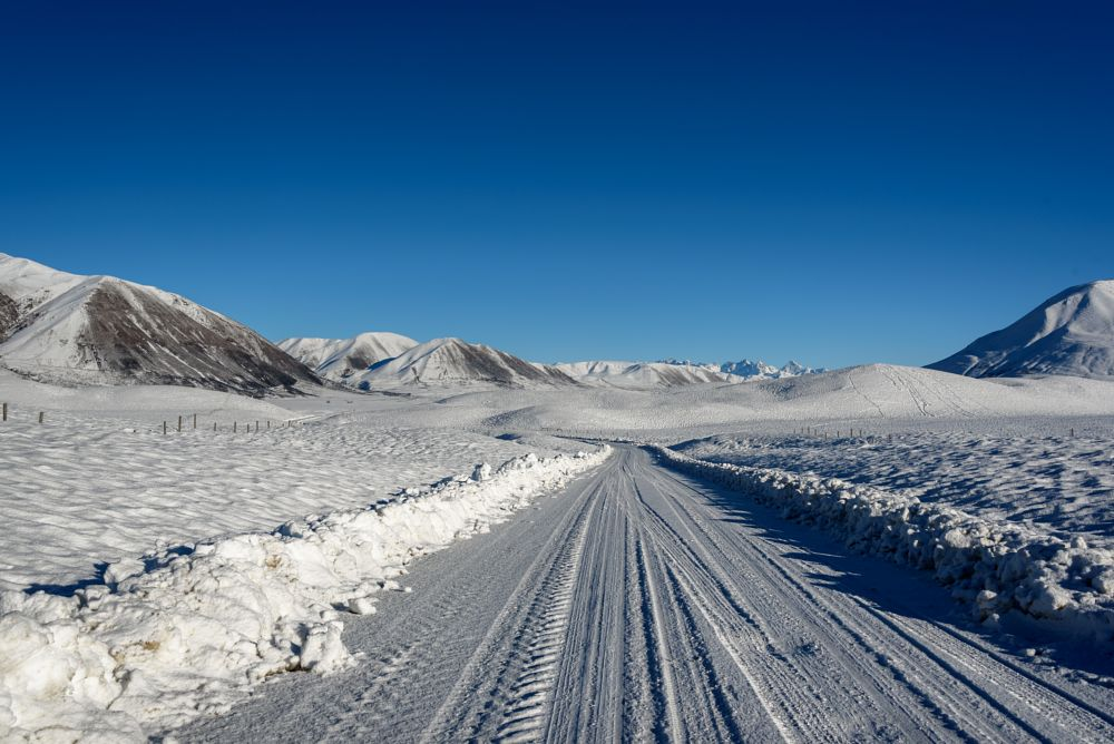Photo in Landscape #canterbury high country #new zealand #snow #scene #mountians #south island #road