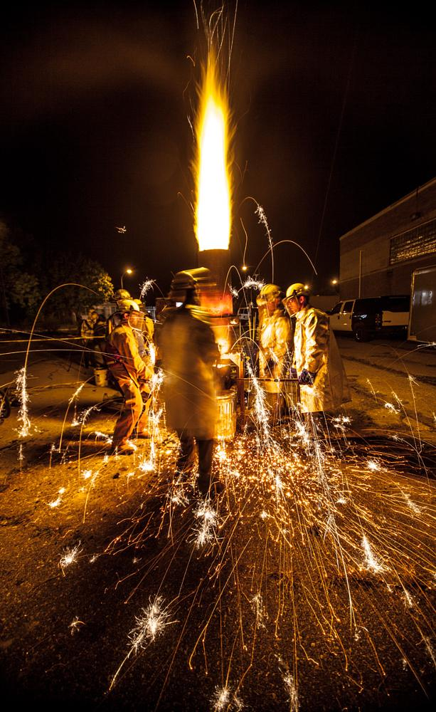Photo in Industrial #iron pour #long exposure #night