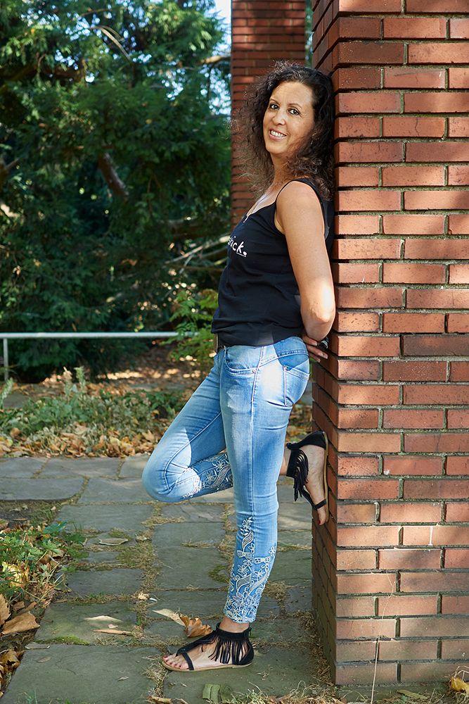Photo in Random #jeans #attractive #pretty #brunette #long hair #sweet #sexy #women #portrait #summer #fun #agfa scala