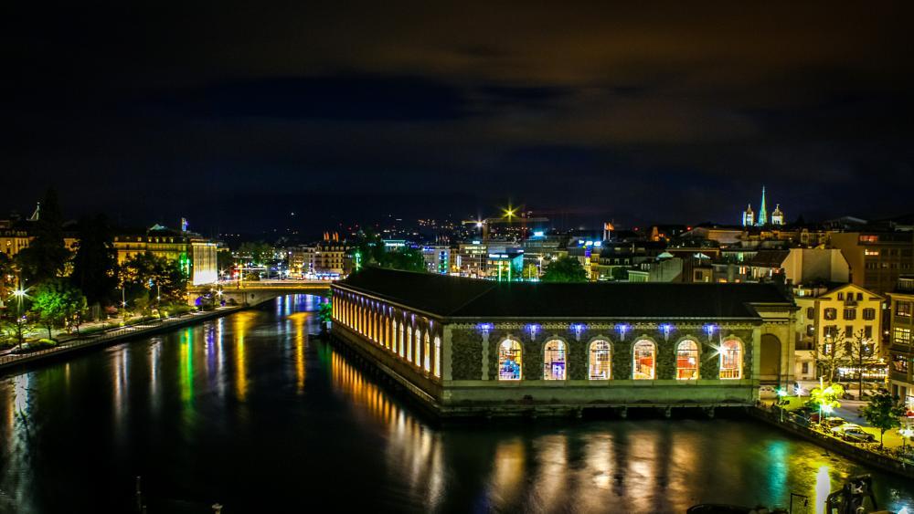 Photo in Cityscape #night #geneva #swiss
