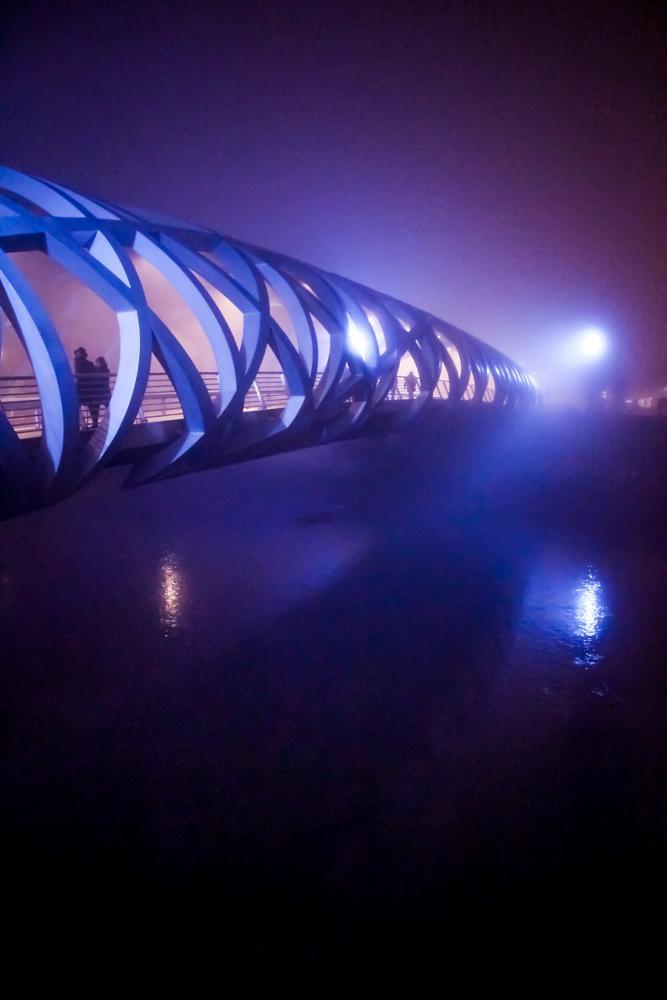 Photo in Architecture #bridge #mist #night