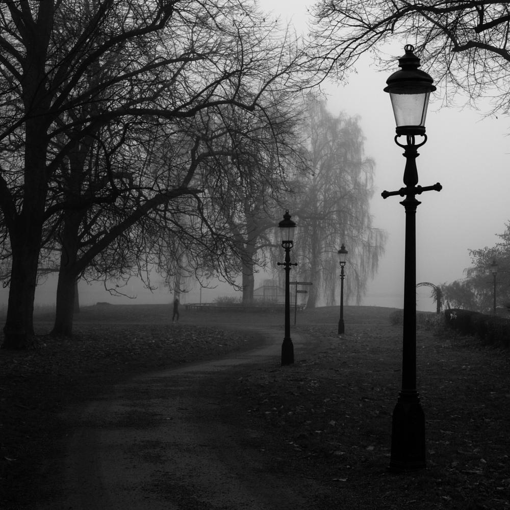 Photo in Cityscape #stockholm #fog #blackandwhite #sweden #sherlock #morning #mist #djurgården