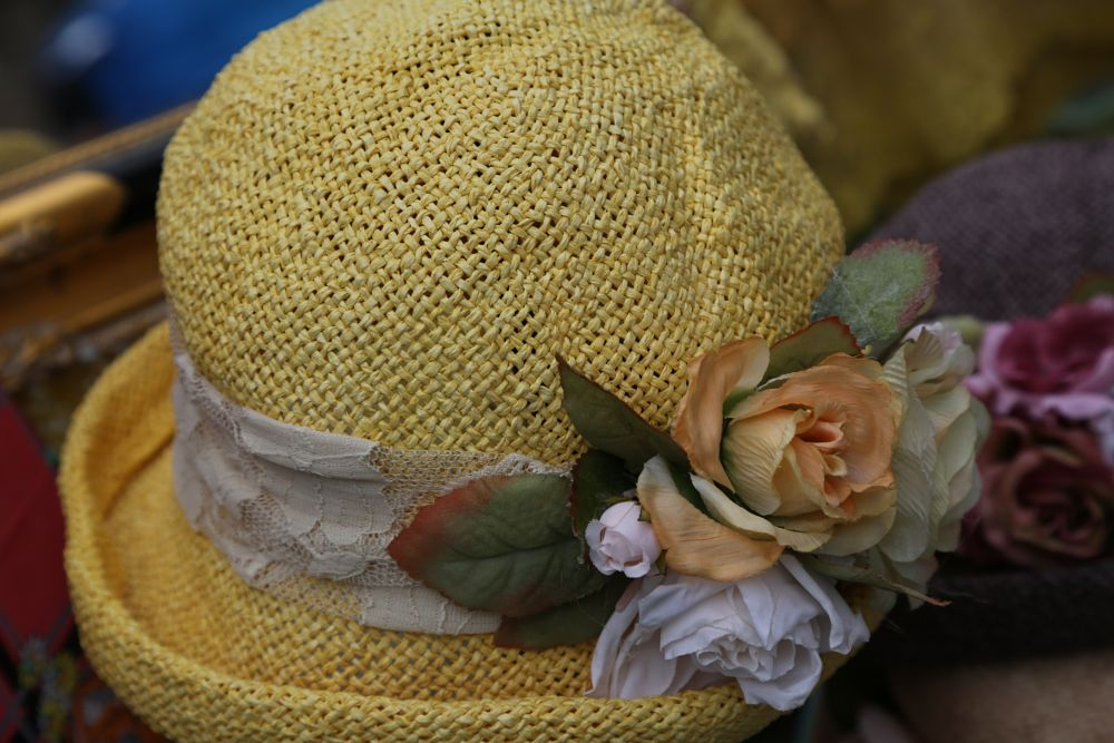 Photo in Random #hat #straw #straw hat #yellow #flowers #farmers market #clothing