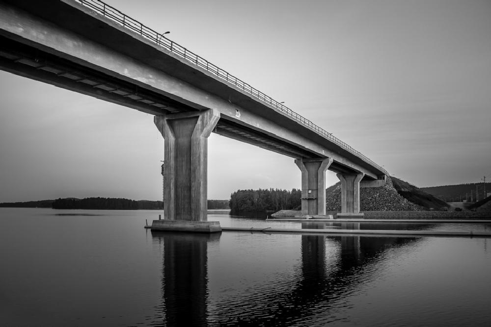 Photo in Landscape #bridge #lake #water #bw #urban