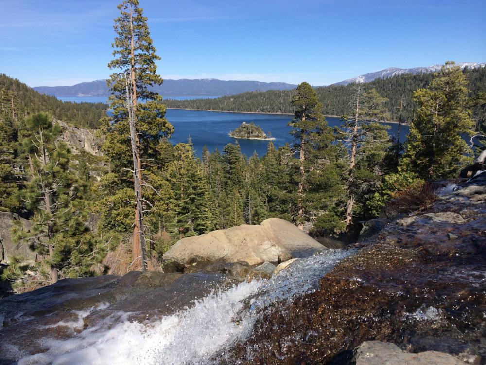 Photo in Landscape #tahoe #waterfall #island #big lake