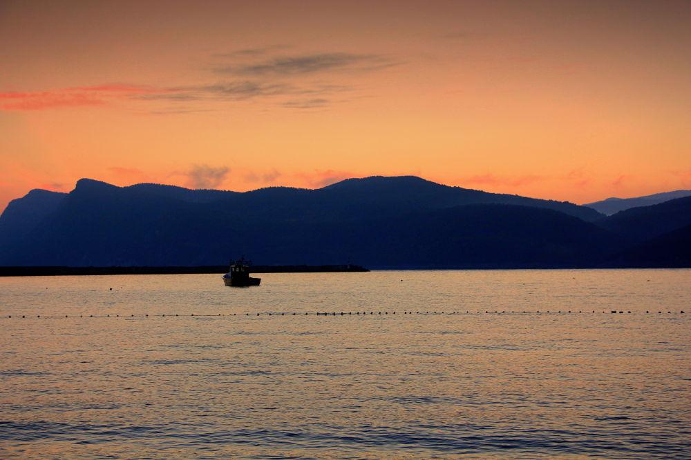 Photo in Nature #sea #mauntain #nature #sunrise #boat