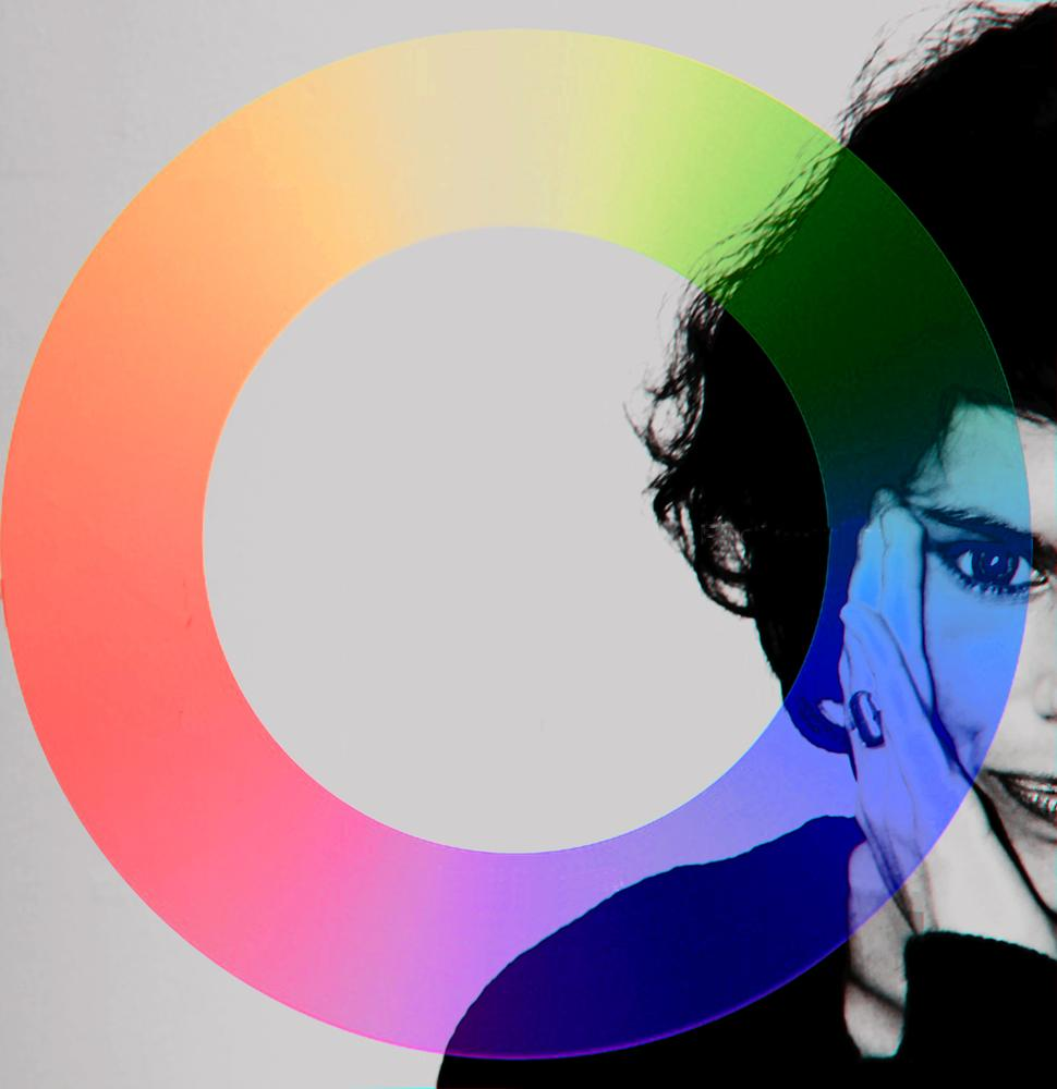 Photo in Abstract #black white #portait #half #woman #colour circle