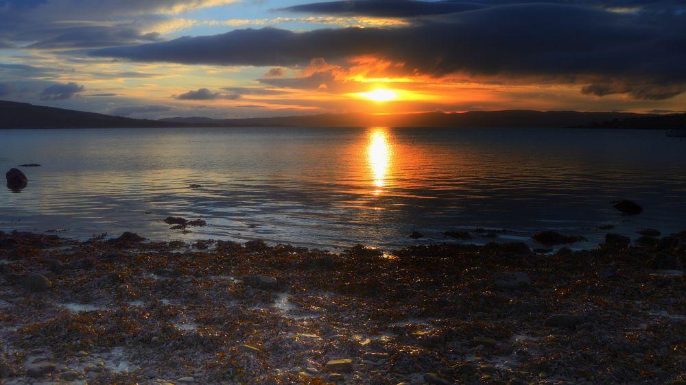 Photo in Sea and Sand #scotland #sunrise #low tide #beach #sun #sea #sky #seaweed #rocks #water hills #nikon #d3200 #camera #nikon d3200 #james #king #b-king #james b king #photography #uk #united kingdom #landscape #seascape #coast #coastal #april #2016 #april 2016 #art #fine art #sea and sand #land and sea #rothesay #isle of bute #bute