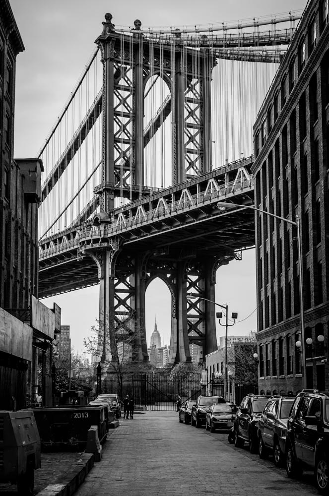 Photo in Black and White #nikon #d7000 #nyc #nyc #new york #big apple #manhattan #brooklyn #dumbo #manhattan bridge #down under the manhattan bridg #reidar murken
