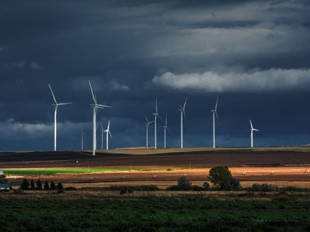 Photo in Landscape #idaho #windfarm #sunset #dramatic lighting #dramatic sky