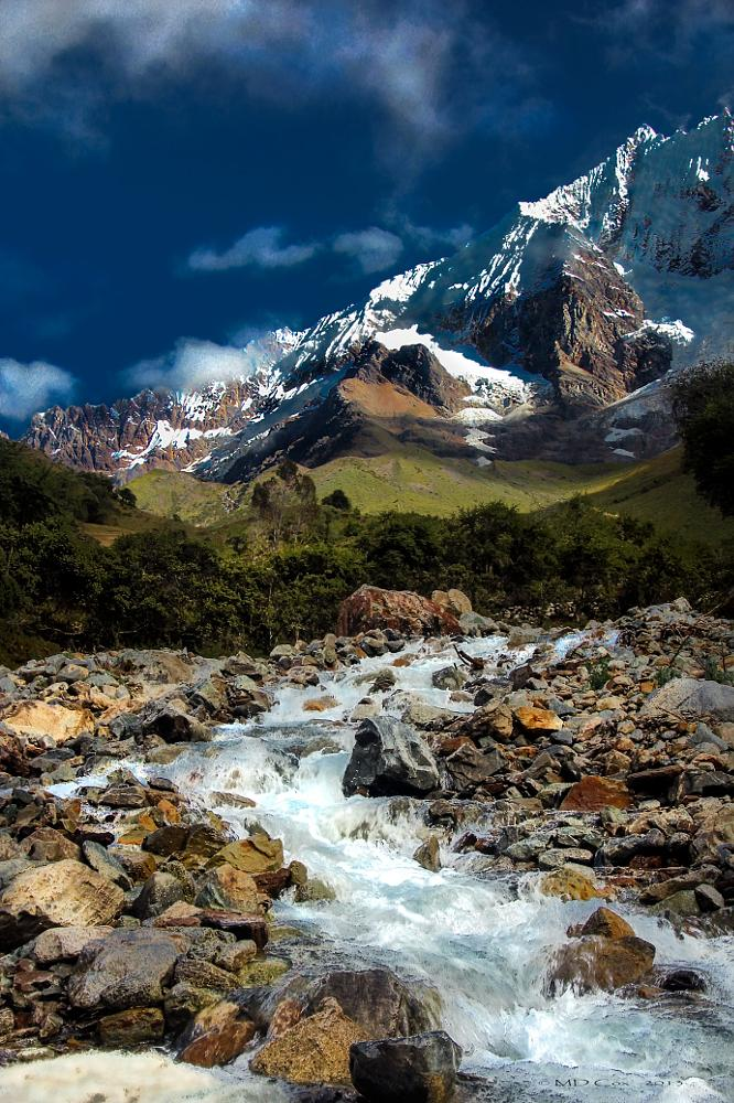 Photo in Landscape #salkantay pass #salkantay #mountains #mountain stream #peruvian andes #andes