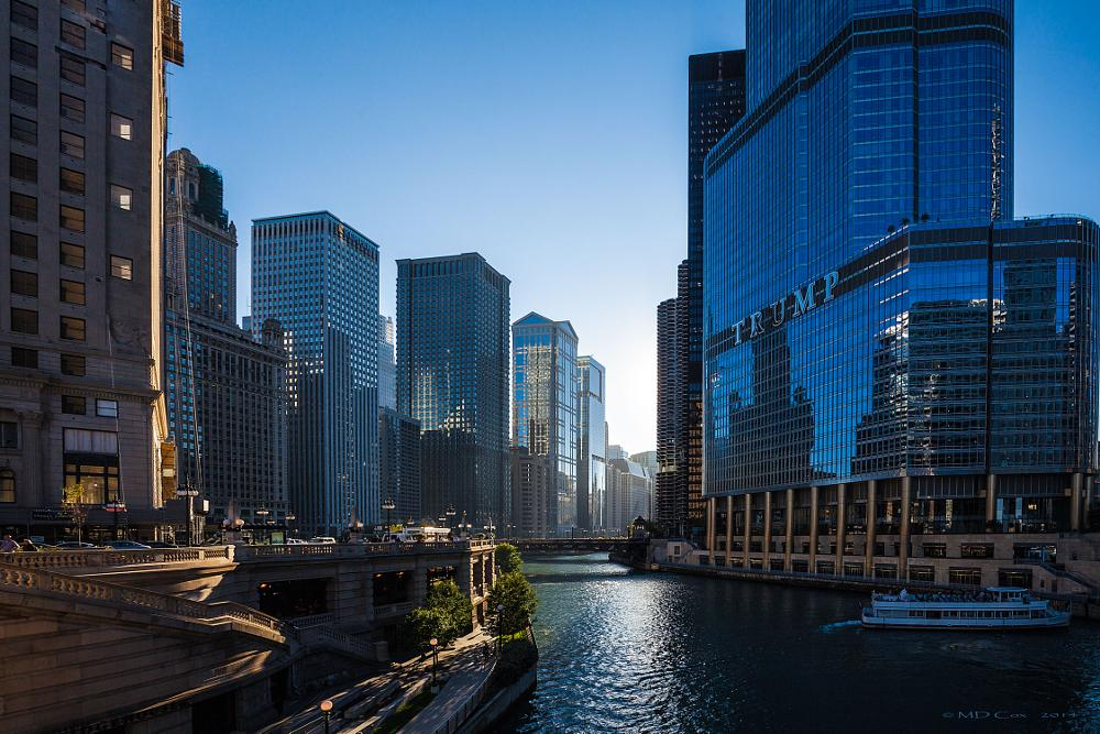 Photo in Cityscape #chicago #chicago river #sunset #trump tower