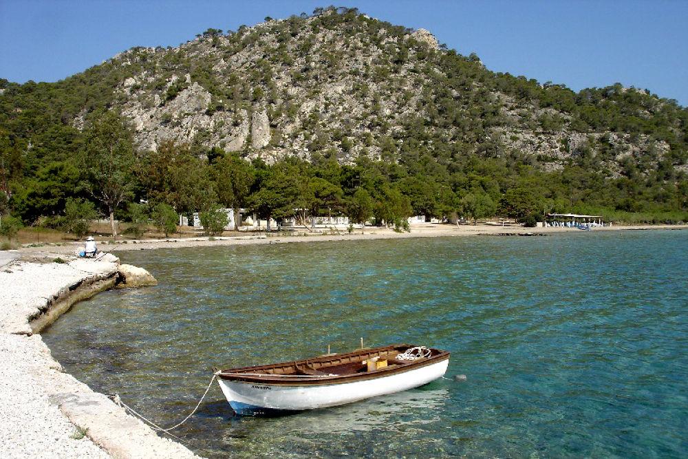 Photo in Landscape #boat #sea #summer #greece #mountain #sun
