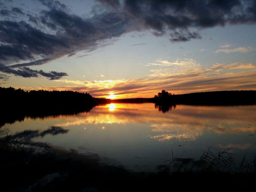 Photo in Landscape #lake #night #sun #set #sky #midsummer #cloud