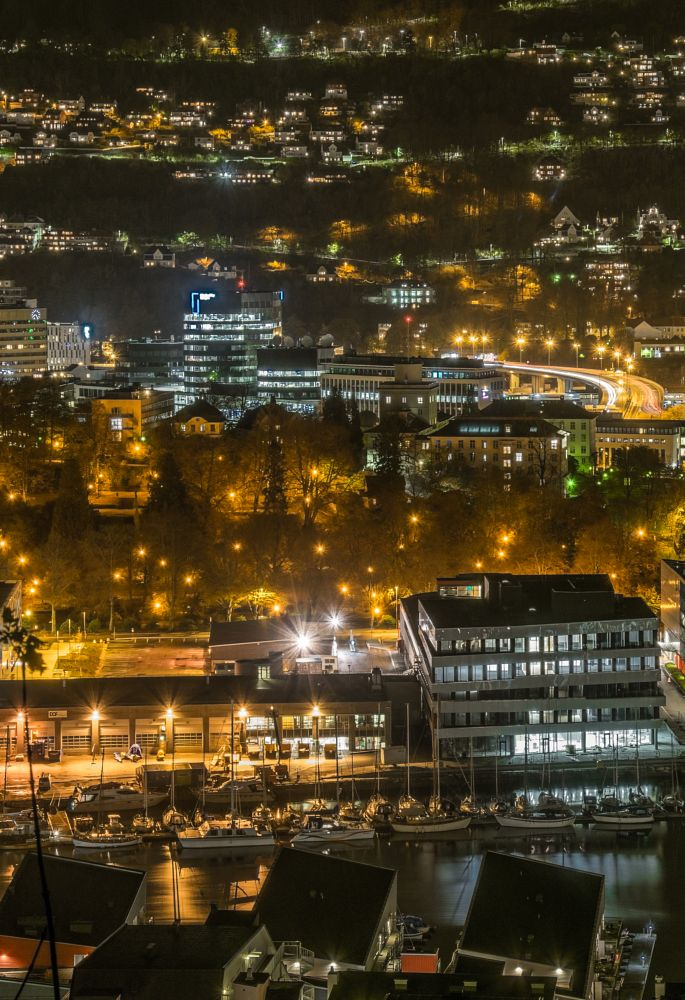 Photo in Cityscape #city #cityscape #night #long exposure #lights #trails #water #colours #urban #bergen #norway #4j
