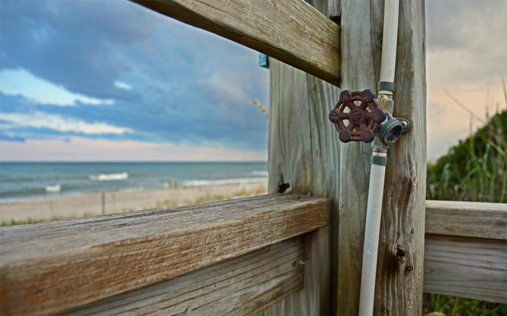 Photo in Landscape #beach #outdoor shower #coast #outer banks #north carolina #summer #sobx #obx #atlantic beach #pine knoll shores