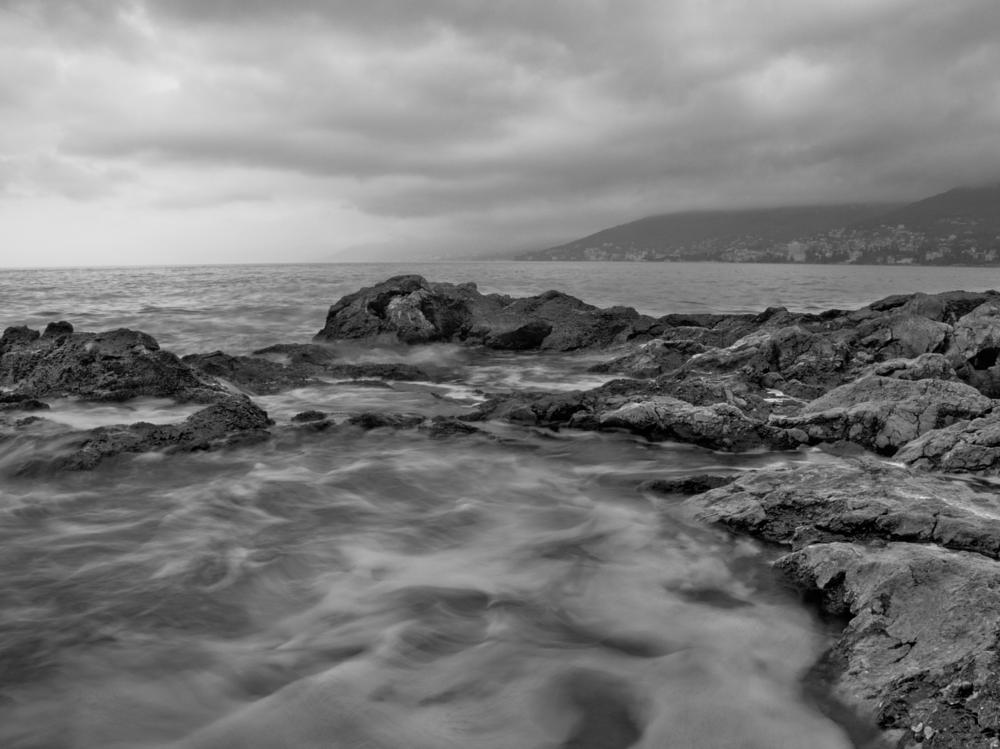 Photo in Black and White #sea #waves #rock