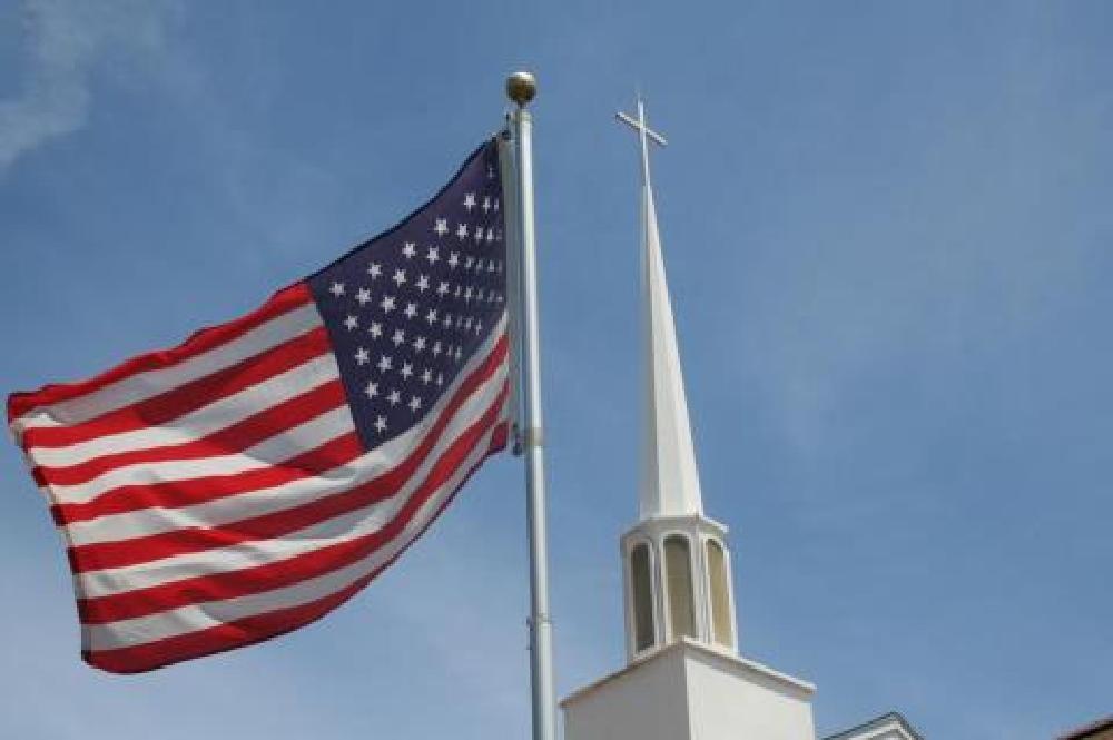 Photo in Random #u.s. flag #church steeple #church cross #churches #patriotic