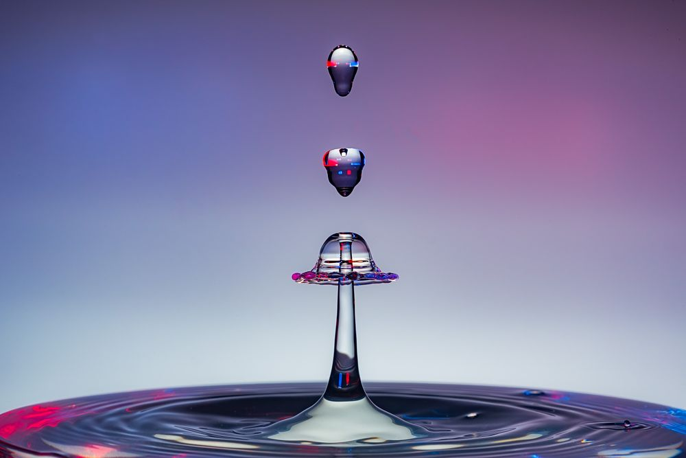 Photo in Abstract #high speed flash #water drops #collisions #splashes