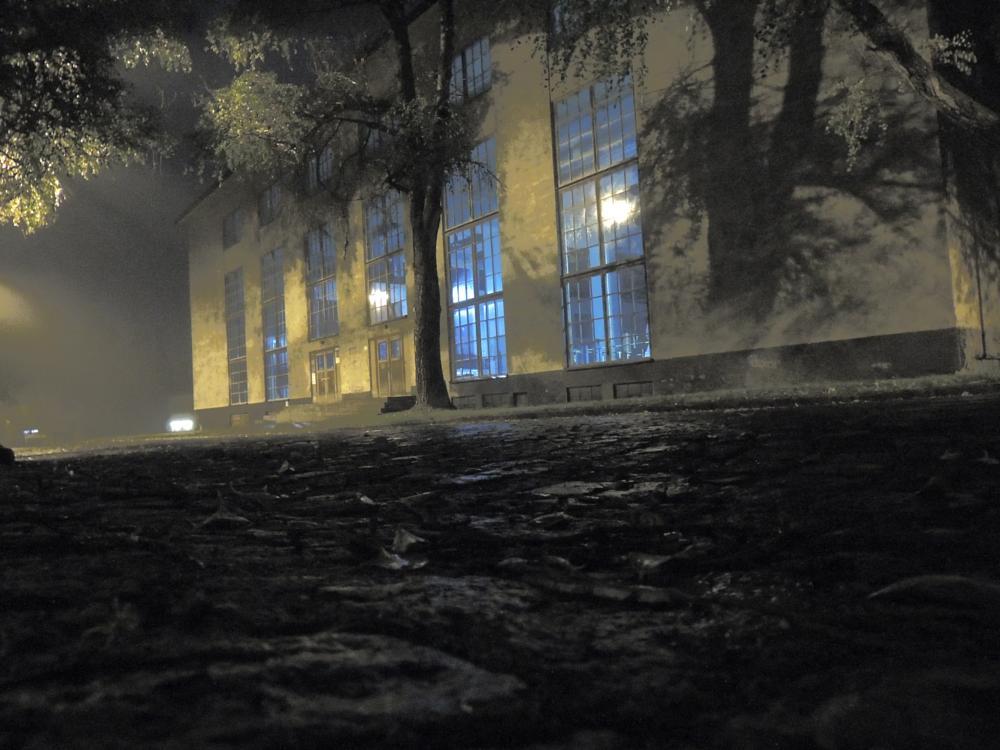 Photo in Industrial #mine #night #mist