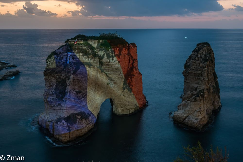 Photo in Landscape #al roushe #pigeon rock #sea #french flag #solidarity against terror