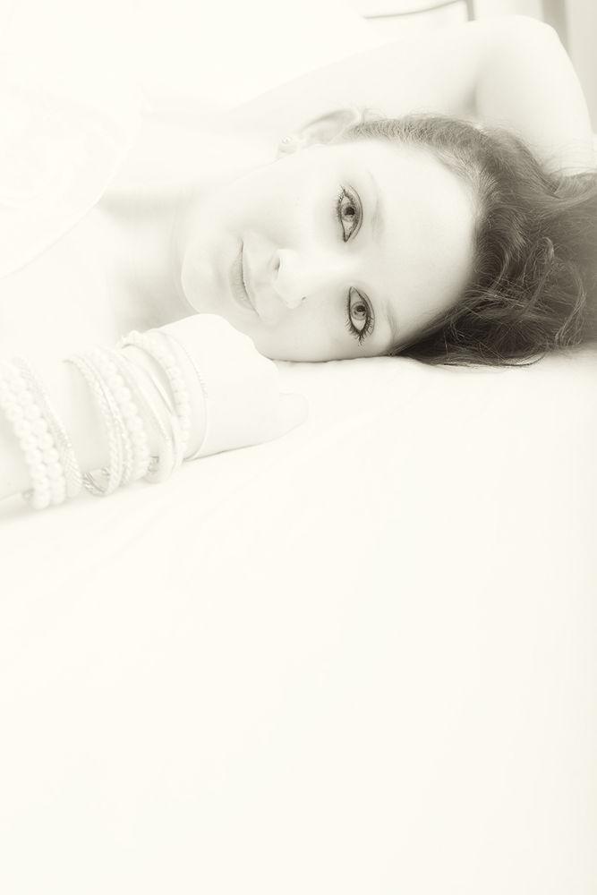 Photo in Portrait #highkey #black & white #woman #portrait #bed
