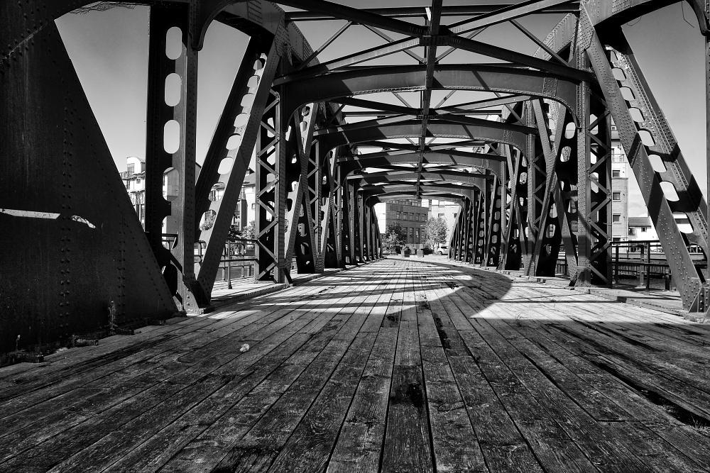Photo in Black and White #swing bridge #leith #bridges #port of leith